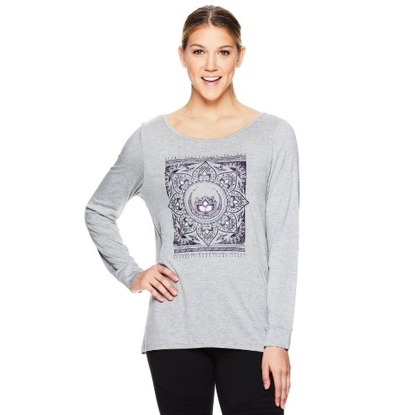 Gaiam HAILEY LS GRAPHIC - Multi Tapestry Top na jogu sivý
