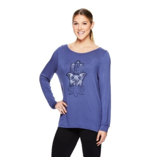 Gaiam HAILEY LS GRAPHIC- Hamsa Lotus Top na jogu modrý